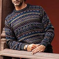 Men's 100% alpaca sweater, 'Tempest' - Men's Patterned Earth Tones 100% Alpaca Pullover Sweater