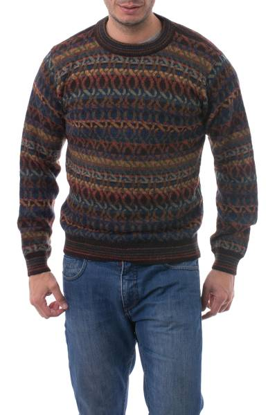 Men's 100% alpaca sweater, 'Forest Sunset' - Men's Patterned Autumn Colors 100% Alpaca Pullover Sweater