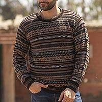 Men's 100% alpaca sweater, 'Geology' - Men's Striped and Patterned 100% Alpaca Pullover Sweater
