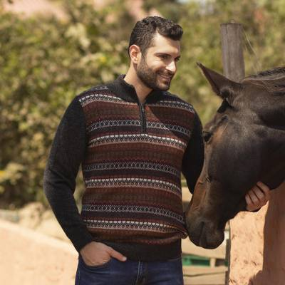 Men's 100% alpaca sweater, 'Archeology' - Men's Multi-Color Striped 100% Alpaca Pullover Sweater