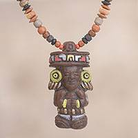 Ceramic beaded pendant necklace, 'Colorful Inca Monarch' - Hand-Painted Inca Ceramic Beaded Pendant Necklace from Peru