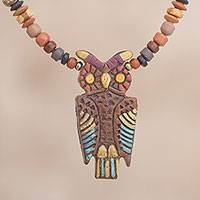 Ceramic beaded pendant necklace, 'Colorful Nocturnal Vigilance' - Hand-Painted Owl Ceramic Beaded Pendant Necklace from Peru