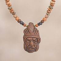 Ceramic beaded pendant necklace, 'Tough Inca' - Ceramic Beaded Pendant Necklace of an Inca Warrior from Peru