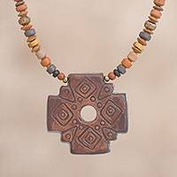 Ceramic beaded pendant necklace, 'Sun Chakana in Brown' - Chakana Cross Beaded Pendant Necklace in Brown from Peru