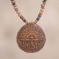 Ceramic beaded pendant necklace, 'Tumi Medallion' - Ceramic Tumi Beaded Pendant Necklace from Peru