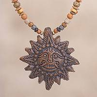 Ceramic beaded pendant necklace, 'Incan Sun God in Brown' - Sun Ceramic Beaded Pendant Necklace in Brown from Peru