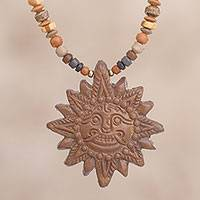 Ceramic beaded pendant necklace, 'Incan Sun God in Light Brown' - Sun Ceramic Beaded Pendant Necklace from Peru