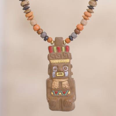 Ceramic beaded pendant necklace, Earthen God