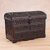 Leather and wood jewelry chest, 'Bird of the Andean Mountains' - Tooled Leather, Cedar Embellished Wood Domed-Lid Jewelry Box