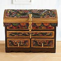 Leather and wood jewelry chest, 'Guardian Birds' - Tooled Leather, Cedar Embellished Wood Domed-Lid Jewelry Box