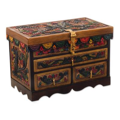 Leather and wood jewelry box, 'Treasure Garden in Amber' - Leather and Cedar Embellished Wood Mirrored-Lid Jewelry Box
