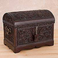 Leather and wood jewelry chest, 'Falcon's Treasure' - Tooled Leather, Cedar Embellished Wood Domed-Lid Jewelry Box