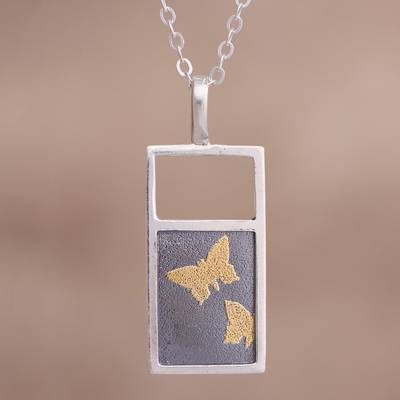 Gold accent sterling silver pendant necklace, 'Golden Butterflies' - Gold Accent Sterling Silver Butterfly Necklace from Peru