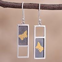 Gold accent sterling silver dangle earrings Golden Butterflies (Peru)
