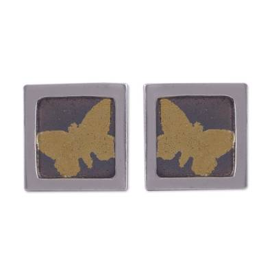 Gold Accent Silver Butterfly Stud Earrings from Peru