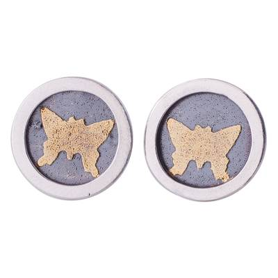 Circular Gold Accent Silver Butterfly Earrings from Peru
