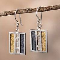 Gold accent sterling silver dangle earrings, 'Windows of Light' - Rectangular Gold Accent Silver Dangle Earrings from Peru