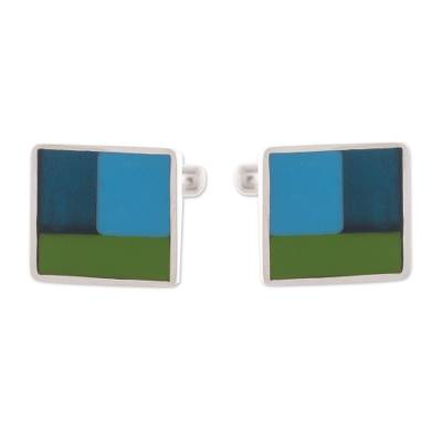 Square Sterling Silver Cufflinks from Peru