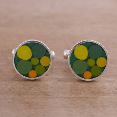 Sterling silver cufflinks, 'Colorful Dots in Green' - Circle Motif Sterling Silver Cufflinks in Green from Peru