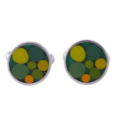 Circle Motif Sterling Silver Cufflinks in Green from Peru