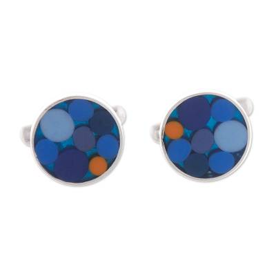 Circle Motif Sterling Silver Cufflinks in Blue from Peru