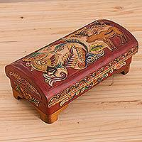 Cedar wood and leather jewelry box, 'Forest Life' - Handcrafted Cedar Wood and Leather Jewelry Box