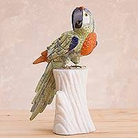 Featured review for Multi-gemstone statuette, Jungle Parrot