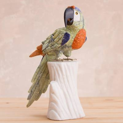 Multi-gemstone statuette, 'Jungle Parrot' - Multi-Gemstone Hand Carved Parrot Statuette