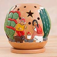 Ceramic tealight candleholder, 'Nativity Amid the Cactus' - Ceramic Christmas Nativity Scene Tealight Candleholder