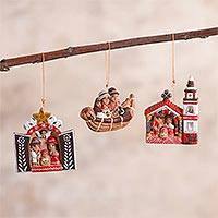 Ceramic ornaments, 'Peruvian Nativities' (set of 3) - 3 Ceramic Christmas Ornaments with Peruvian Nativity Scenes