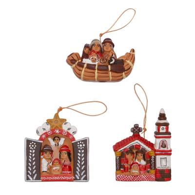 3 Ceramic Christmas Ornaments with Peruvian Nativity Scenes