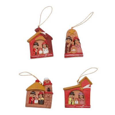 4 Ceramic Christmas Ornaments with Ayacucho Nativity Scenes