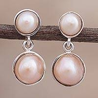 Cultured pearl dangle earrings, 'River Desire' - Circular Cultured Pearl Dangle Earrings from Peru