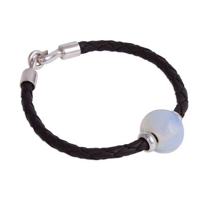 Glass Pendant Bracelet in Black from Peru