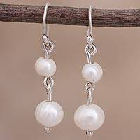 Cultured pearl dangle earrings, 'Waterfall Glow' - Cultured Pearl Dangle Earrings from Peru
