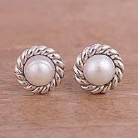 Cultured pearl stud earrings, 'Lassoed Glow' - Rope Motif Cultured Pearl Stud Earrings from Peru