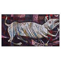 'Peruvian Dog' - Original Signed Cubist Painting of Peru's Hairless Dog