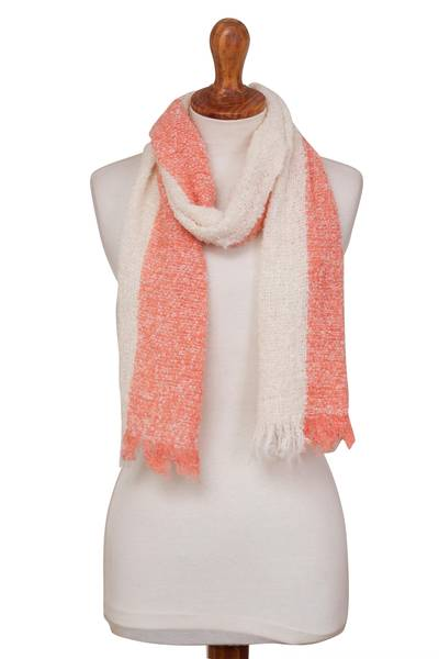 Alpaca blend scarf, 'Creamsicle' - Peach and Cream Color-Blocked Alpaca Blend Boucle Scarf