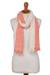 Alpaca blend scarf, 'Creamsicle' - Peach and Cream Color-Blocked Alpaca Blend Boucle Scarf thumbail