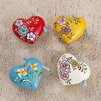 Ceramic hearts, 'Love Message' (set of 4) - Hand Painted Ceramic Hearts for Love Notes (Set of 4)