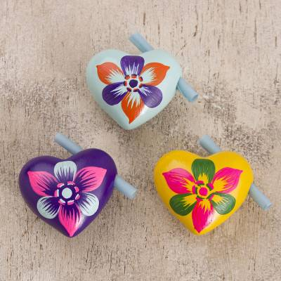 Ceramic hearts, 'Romantic Tale' (set of 3) - Hand Painted Ceramic Hearts for Love Notes (Set of 3)