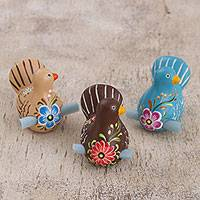Ceramic figurines, 'Love Messenger' (set of 3) - Hand Painted Ceramic Doves for Love Notes (Set of 3)