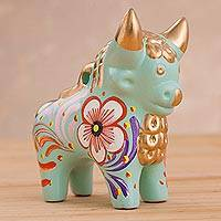 Ceramic statuette, 'Mint Pucara Bull' - Hand Painted Mint Green Ceramic Bull of Pucara Statuette