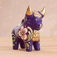 Ceramic statuette, 'Purple Pucara Bull' - Hand Painted Purple Ceramic Little Bull of Pucara Statuette