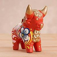 Ceramic statuette, 'Orange Pucara Bull' - Hand Painted Orange Ceramic Little Bull of Pucara Statuette
