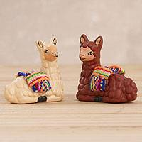 Ceramic figurines, 'Relaxing Pair' (pair) - Hand Crafted Ceramic Seated Beige and Brown Llamas (Pair)