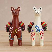 Ceramic figurines, 'At the Ready' (pair) - Hand Crafted Ceramic Standing Brown and White Llamas (Pair)