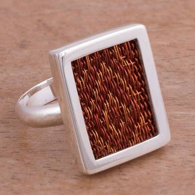 Sterling Silver and Woven Copper Cocktail Ring from Peru