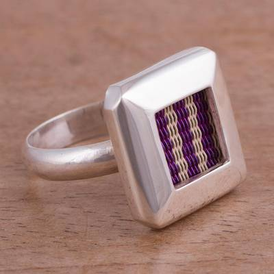 Striped Sterling Silver and Copper Cocktail Ring from Peru