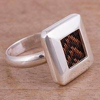 Sterling silver and copper cocktail ring, 'Metallic Arrows' - Arrow Motif Sterling Silver Cocktail Ring from Peru